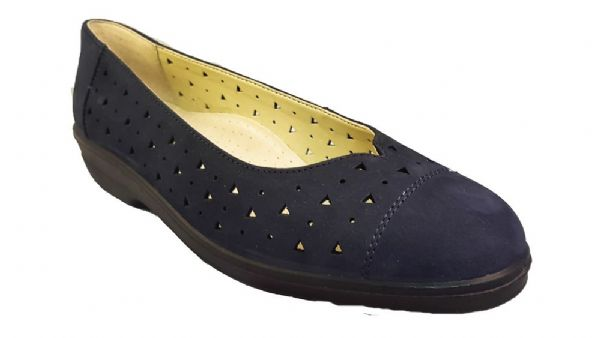 Faye slip on classic look summer ladies shoe from Padders Navy soft suede.
